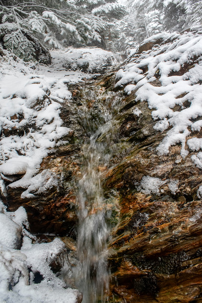 All snow but Moving Water