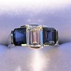 2.83ctw Vintage Emerald Diamond and Sapphire Trilogy Ring 15