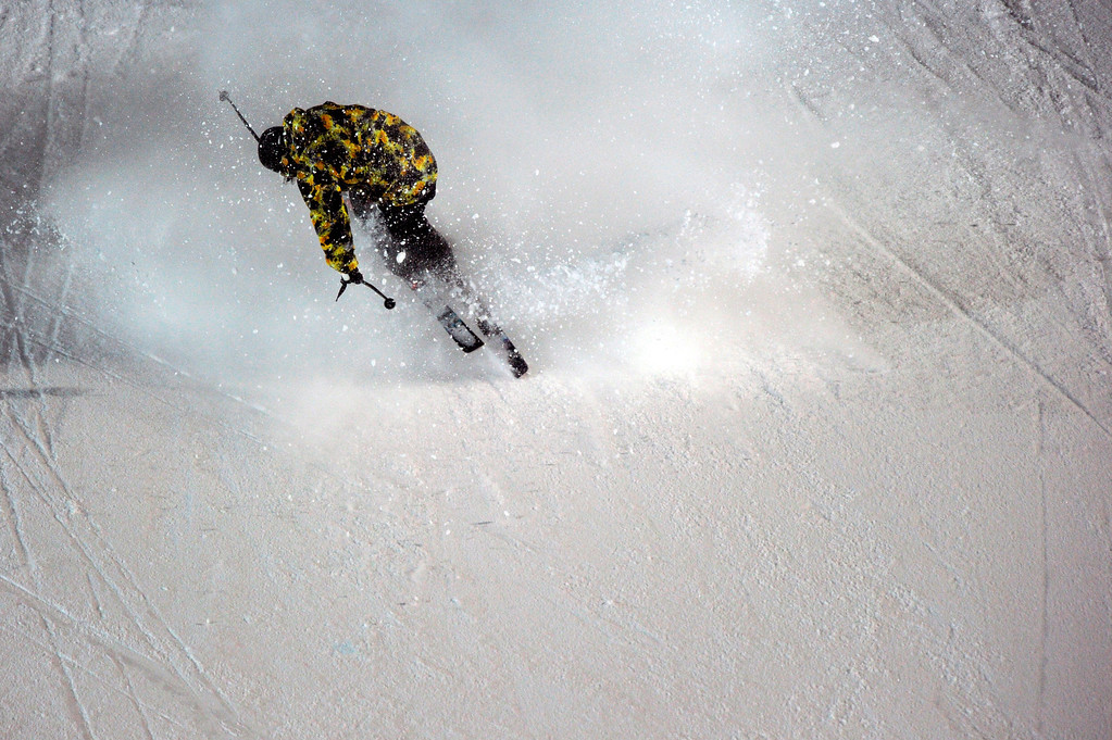 . ASPEN, CO - January 26: Gus Kenworthy wipes out during the men\'s Ski Big Air Final at Winter X Games Aspen 2013 at Buttermilk Mountain on Jan. 26, 2013, in Aspen, Colorado. Kenworthy finished in fifth. (Photo by Daniel Petty/The Denver Post)