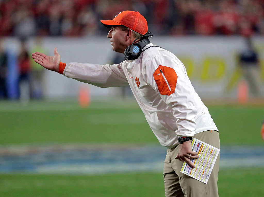 . Clemson head coach Dabo Swinney reacts to a call during the second half of the team\'s Fiesta Bowl NCAA college football playoff semifinal against Ohio State, Saturday, Dec. 31, 2016, in Glendale, Ariz. (AP Photo/Rick Scuteri)