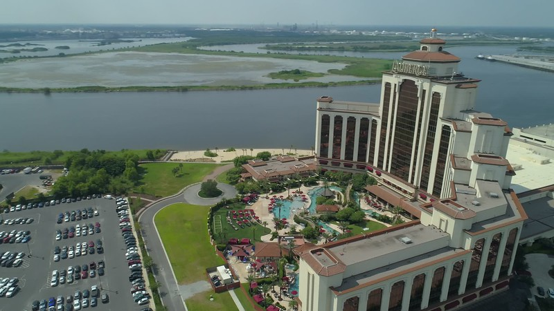 Aerial Lauberge Casino pool deck tourist destination