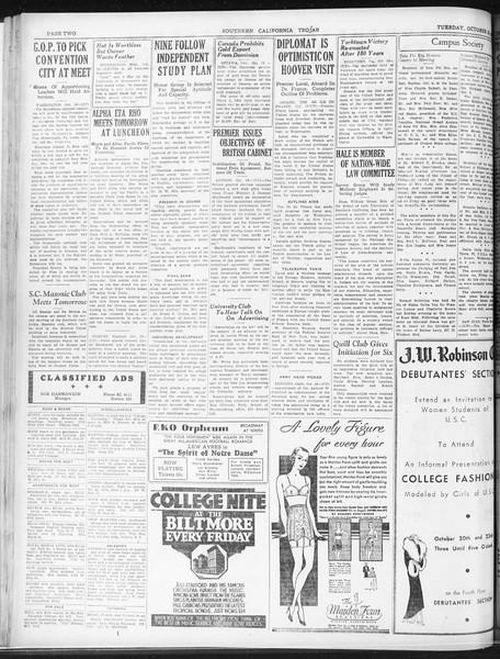 Daily Trojan, Vol. 23, No. 28, October 20, 1931