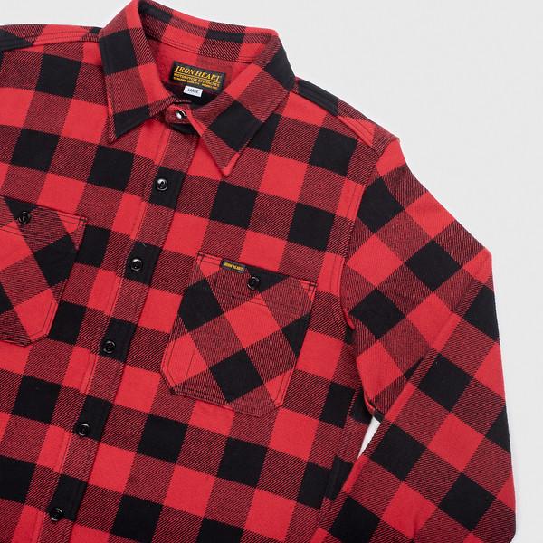 Ultra Heavy Flannel Buffalo Check Work Shirt - Red-Black--4.jpg