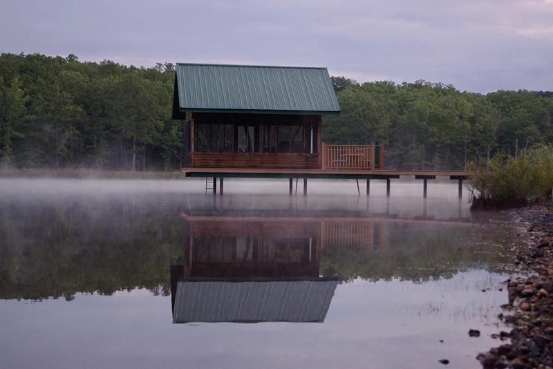 Charles and Sachiko's cabin on their misty lake near Mountain View, Missouri.
