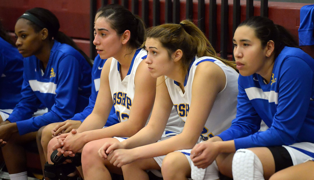 . Bishop Amat bench in the second half of the Covina basketball tournament against Bonita at Covina High School in Covina, Calif., on Saturday, Dec. 14, 2013. Bonita won 49-41.   (Keith Birmingham Pasadena Star-News)