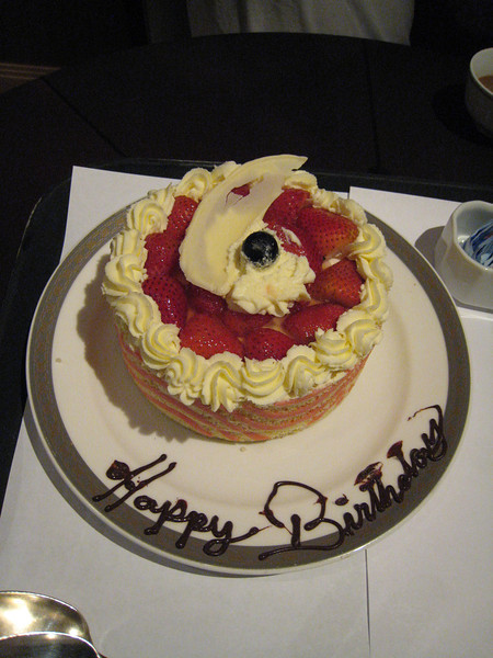 We celebrated my birthday while on board. Lovely cake, but we were too full to eat any of it.