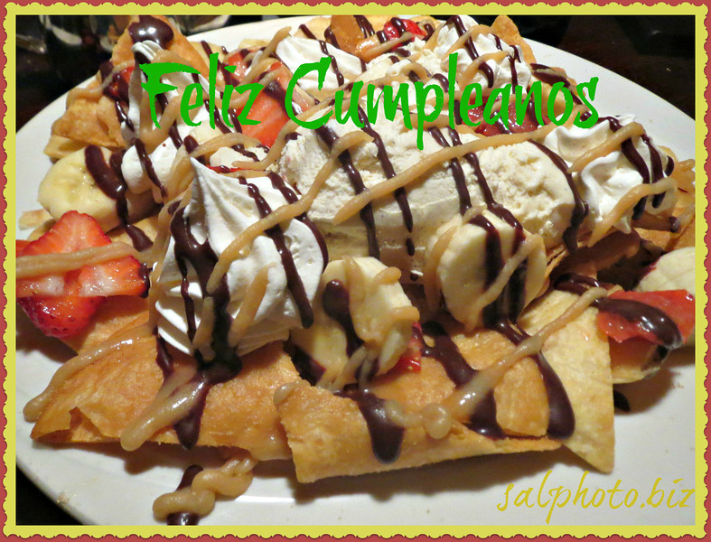 //www.spanishdict.com/translate/happy+birthday  http://www.1happybirthday.com/mobile/spanish_birthday_lyrics.php  Happy Birthday - (Spanish Version)  http://youtu.be/rSlQTzk8vAY  Pick any dessert off the menu on your birthday and it's FREE!!    My friend chose this for her b-day December 2013...   Taco something with ice cream, which took 4 of us to eat!...yumm! http://www.bellocucina.com/index.asp  Original Pic... http://smu.gs/1clBWM1