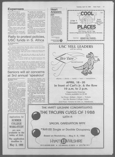 Daily Trojan, Vol. 106, No. 63, April 19, 1988