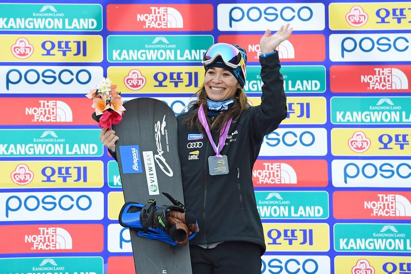 10-3-2017 SNOWBOARDEN: 2017 WORLD PARA SNOWBOARD  WORLD CUP FINALS: PYEONCHANG Bibian Mentel wint goud op het onderdeel cross. Foto: Mathilde Dusol