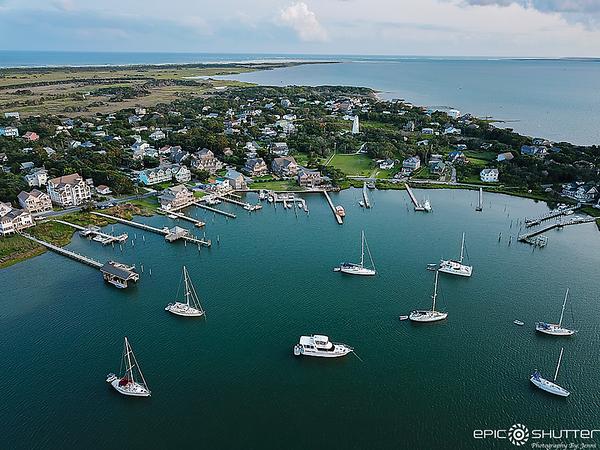 July 3, 2021 Ocracoke Island Aerial Photography, Silver Lake,