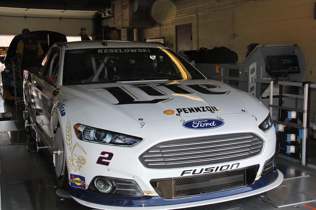 . Brad Keselowski\'s No. 2 Ford Fusion goes through inspection at Michigan International Speedway on Friday, June 13.