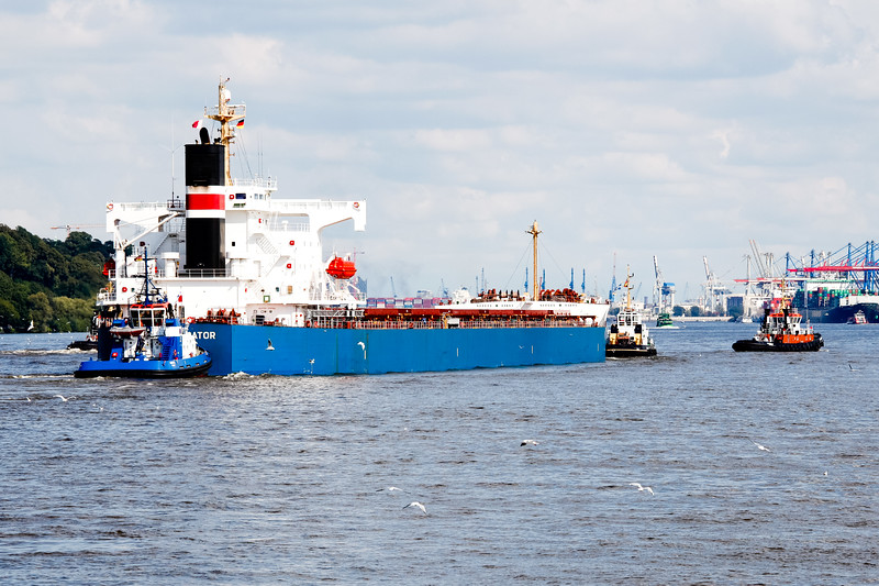 Massengutfrachter mit 4 Schleppern auf der Elbe am Tag vor dem Parkhafen Hamburg