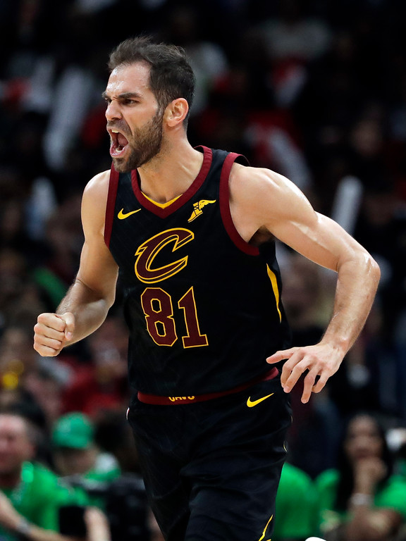 . Cleveland Cavaliers guard Jose Calderon reacts after scoring his basket against the Chicago Bulls during the second half of an NBA basketball game Saturday, March 17, 2018, in Chicago. The Cavaliers won114-109. (AP Photo/Nam Y. Huh)