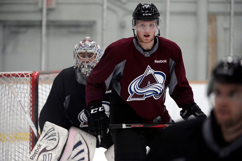 . Colorado Avalanche LW Gabriel Landeskog (92) positions in front of the goal  during practice Wednesday, January 16, 2013 at Family Sports Center. John Leyba, The Denver Post