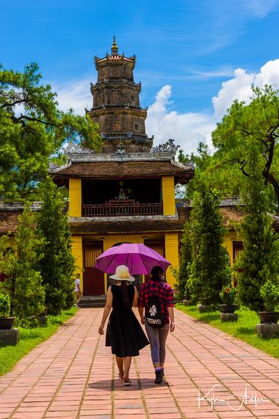Approaching the Thien Mu Pagoda in Hue.