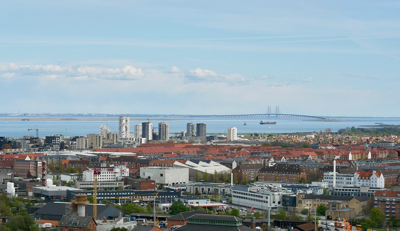Øresund Bridge in the distance, the longest combined road and rail bridge in Europe (we took it to Malmö, Sweden)