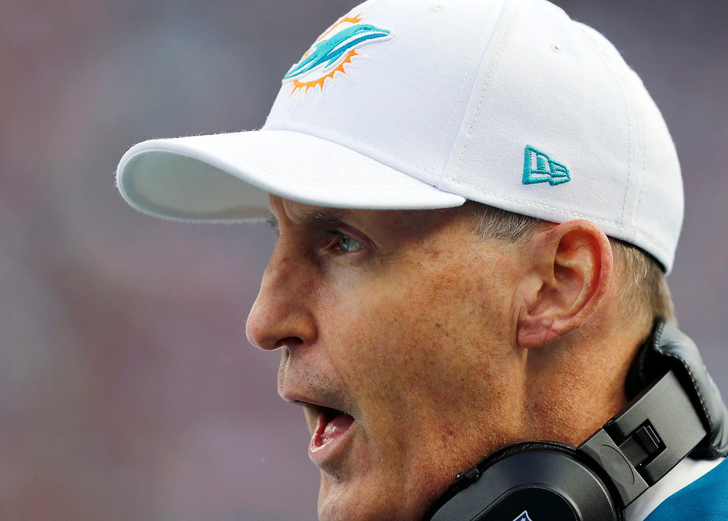 . Miami Dolphins head coach Joe Philbin speaks from sidelines in the first quarter of an NFL football game against the New England Patriots Sunday, Oct. 27, 2013, in Foxborough, Mass. (AP Photo/Michael Dwyer)