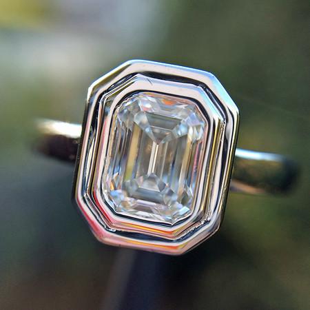 .74ct Emerald Cut Diamond Bezel Ring, GIA F VS1