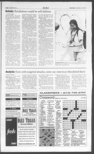 Daily Trojan, Vol. 144, No. 17, September 21, 2001