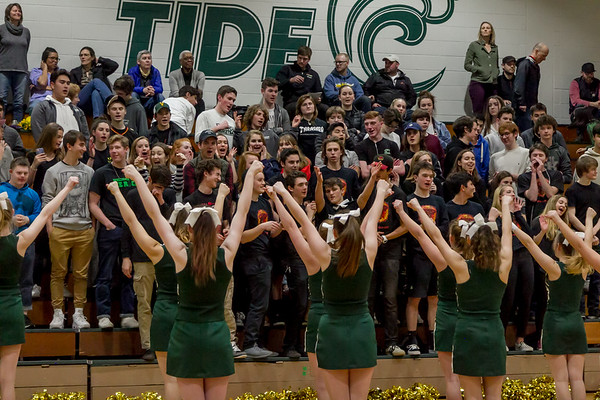 Winter Cheer, Band and Crowd at Basketball v Seattle Christian - Seniors Night 2018
