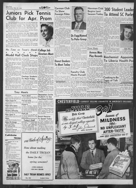 Daily Trojan, Vol. 43, No. 84, February 27, 1952