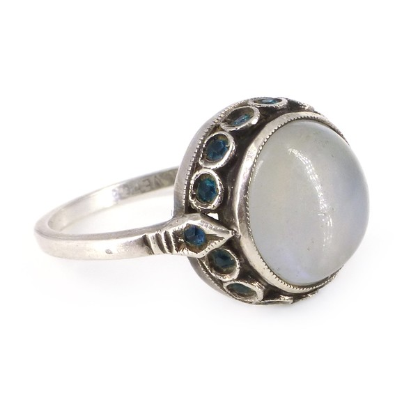 Vintage Silver Moonstone Blue Paste Halo Ring