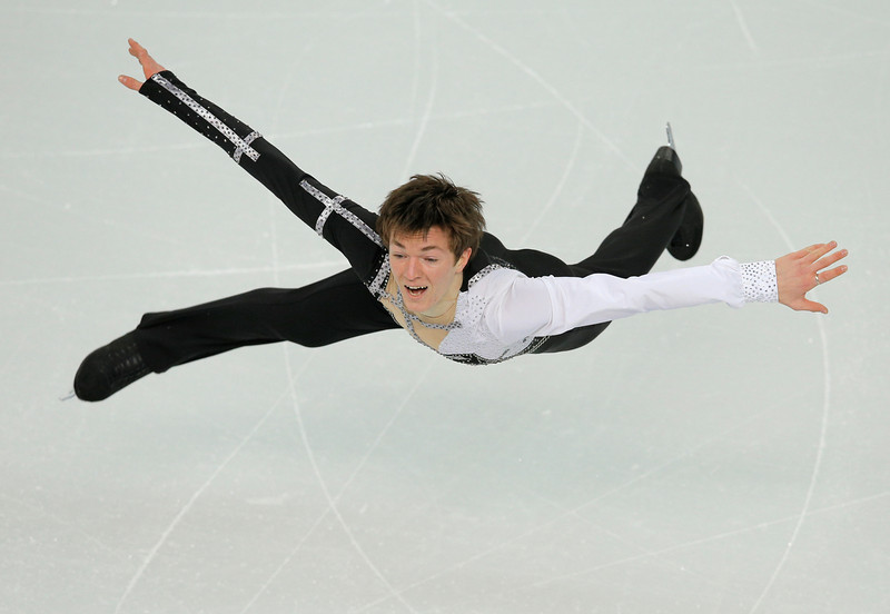 . Yakov Godorozha of Ukraine competes in the men\'s team short program figure skating competition at the Iceberg Skating Palace during the 2014 Winter Olympics, Thursday, Feb. 6, 2014, in Sochi, Russia. (AP Photo/Vadim Ghirda)
