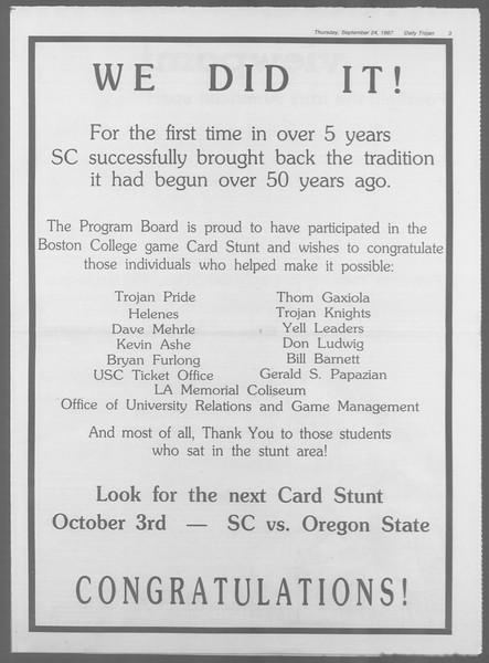 Daily Trojan, Vol. 105, No. 16, September 24, 1987