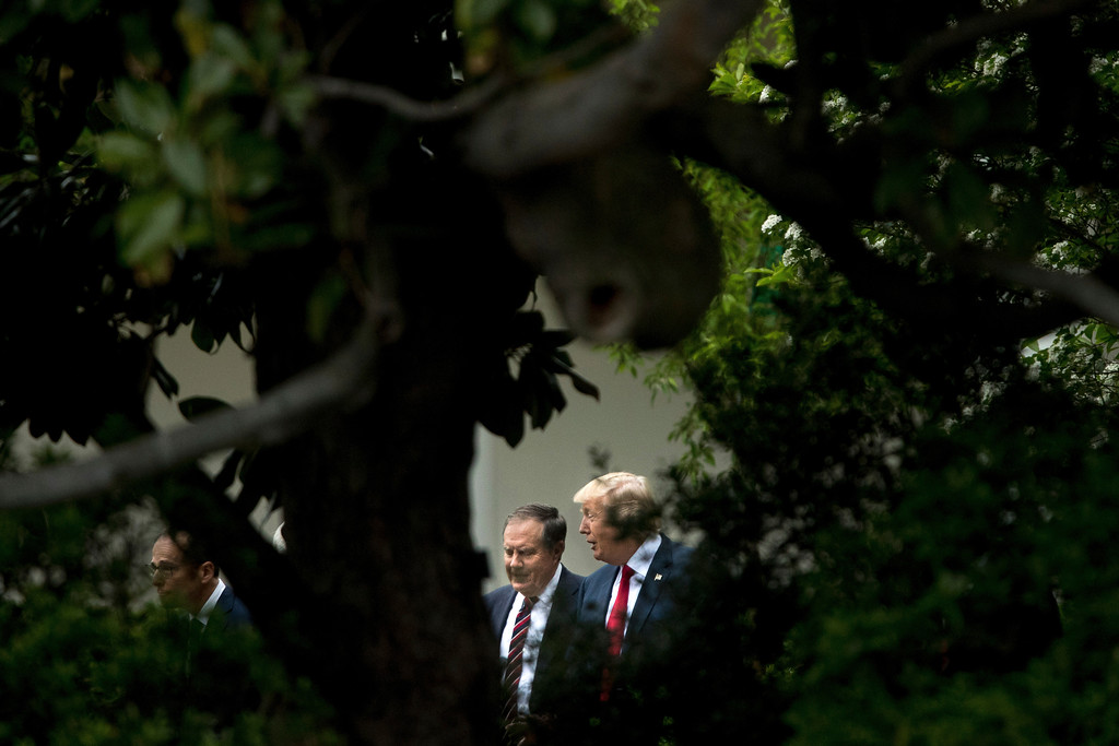 . President Donald Trump talks with New England Patriots head coach Bill Belichick as they arrive for a ceremony on the South Lawn of the White House in Washington, Wednesday, April 19, 2017, where the president honored the Super Bowl Champion New England Patriots for their Super Bowl LI victory. (AP Photo/Andrew Harnik)