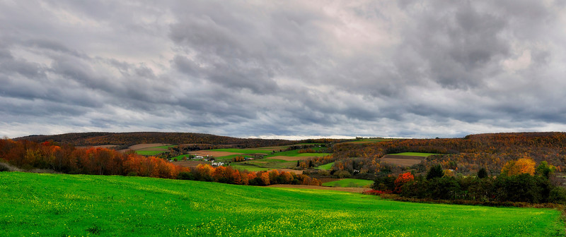 Panoramic view of rural farms, Upstate New York