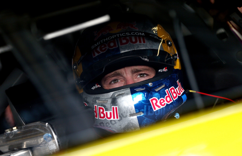 . Travis Pastrana, driver of the #60 Roush-Fenway Racing Ford, sits in his car in the garage during practice for the NASCAR Nationwide Series DRIVE4COPD 300 at Daytona International Speedway on February 21, 2013 in Daytona Beach, Florida.  (Photo by Jonathan Ferrey/Getty Images)