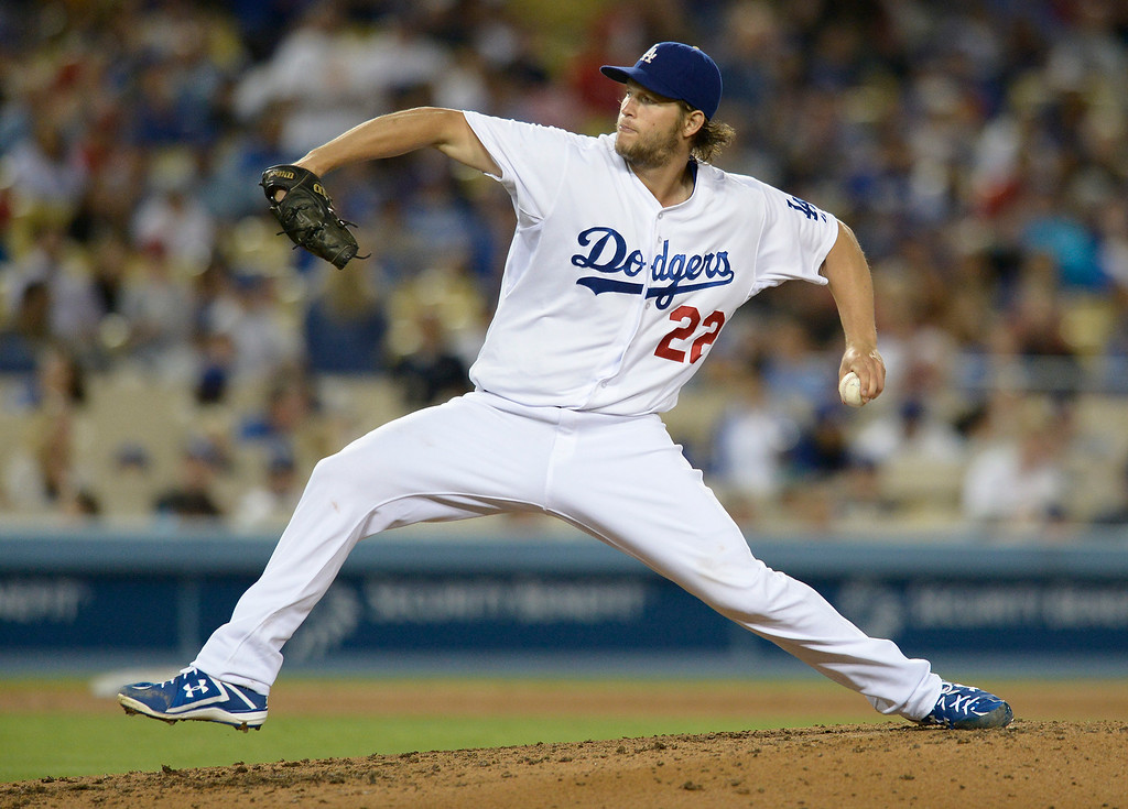 . Clayton Kershaw on the mound. The Dodgers defeated the Angels 5-4. Los Angeles, CA. 8/5/2014(Photo by John McCoy Daily News)