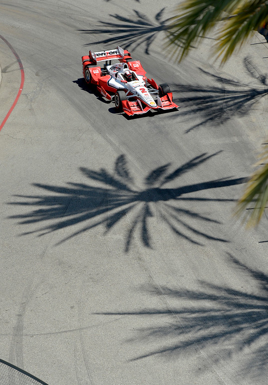 . Shadows from palm trees are seen on the track as Juan Pablo comes through turn two during the Toyota Grand Prix of Long Beach in Long Beach CA. Sunday April 19, 2015.  (Thomas R. Cordova-Daily Breeze/Press-Telegram)