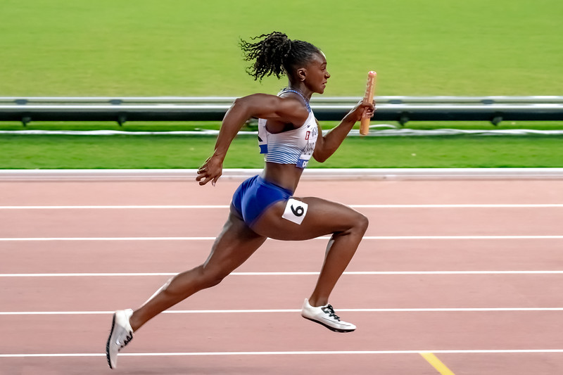 Dina Asher-Smith competes in the Women's 4x100m relay during day nine of 17th IAAF World Athletics Championships Doha 2019 at Khalifa International Stadium on October 05, 2019 in Doha, Qatar. Photo by Tom Kirkwood/SportDXB
