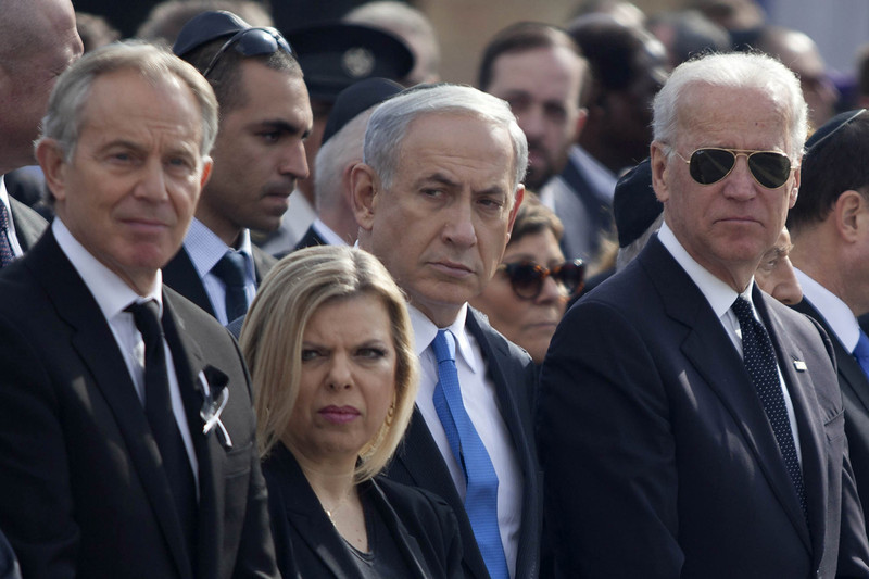 . US Vice President Joe Biden (R),  Israeli Prime Minister Benjamin Netanyahu (2nd R) and his wife Sara and Former British Prime Minister Tony Blair (L) during a state memorial service for Israel\'s former Prime Minister Ariel Sharon at Israel\'s parliament, the Knesset on January 13, 2014 in Jerusalem, Israel. A military ceremony for Ariel Sharon was held in at Latrun before he was buried near Sycamore Farm, the former Prime Minister\'s residence, beside the grave of his wife Lili. Former PM Ariel Sharon\'s died on Saturday aged 85 in Tel Hashomer hospital near Tel Aviv and had been in a coma since January 4, 2006.  (Photo by Lior Mizrahi/Getty Images)