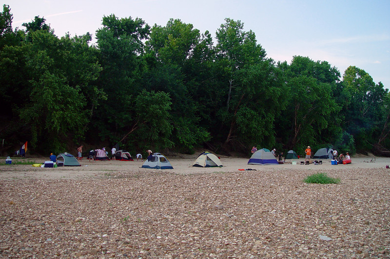Our camp. Notice how most folks were up against the trees, while Scott, Nate, and myself were out in the open? This made for a rough night when the crazy storms hit in the middle of the night.