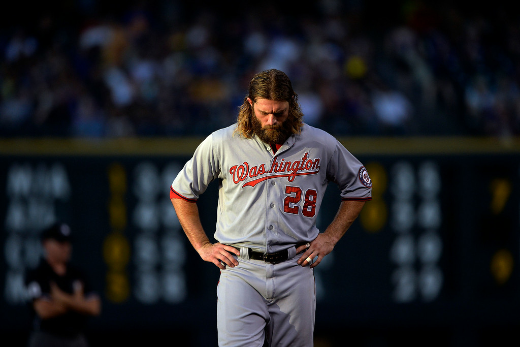 . Jayson Werth (28) of the Washington Nationals walks off the field against the Colorado Rockies between innings at Coors Field. Major League Baseball action between the Colorado Rockies and the Washington Nationals on Monday, July 21, 2014. (Photo by AAron Ontiveroz/The Denver Post)