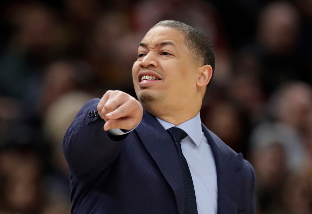 . Cleveland Cavaliers head coach Tyronn Lue yells instructions to players during the first half of the team\'s NBA basketball game against the Indiana Pacers, Friday, Jan. 26, 2018, in Cleveland. The Cavaliers won 115-108. (AP Photo/Tony Dejak)