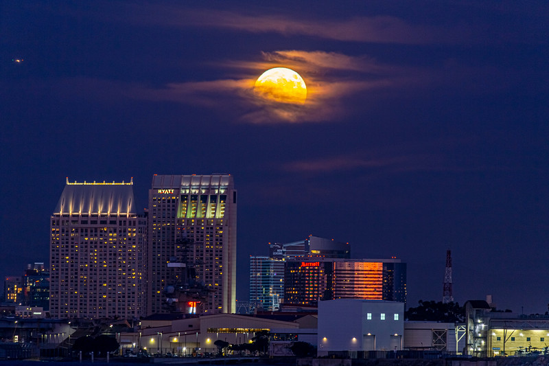 Friday the 13th Full Moon Rises Over Downtown San Diego
