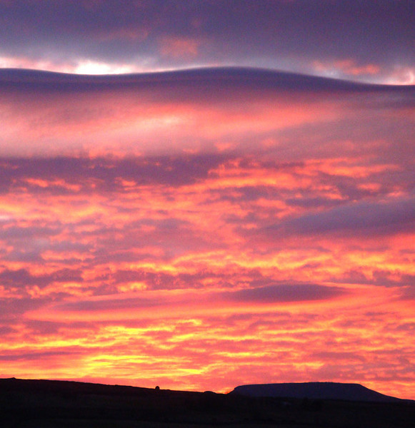 Sunset over Ingleborough. After 11 hours we were back to the start, and the wonderful hot showers, pubs, food and drink of Horton-in-Ribblesdale!