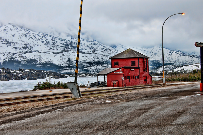 WP&YR Railroad stop in the middle of nowhere near the Immigration stop into the Yukon.
