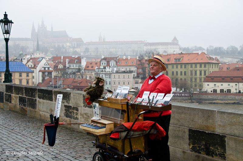 Charles Bridge: Organ Grinder with mechanical monkey