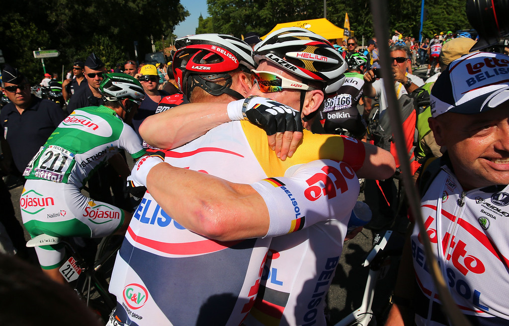 . MONTPELLIER, FRANCE - JULY 04:  Andre Greipel of Germany and Lotto-Belisol celebrates winning stage six of the 2013 Tour de France, a 176.5KM road stage from Aix-en-Provence to Montpellier, on July 4, 2013 in Montpellier, France.  (Photo by Bryn Lennon/Getty Images)