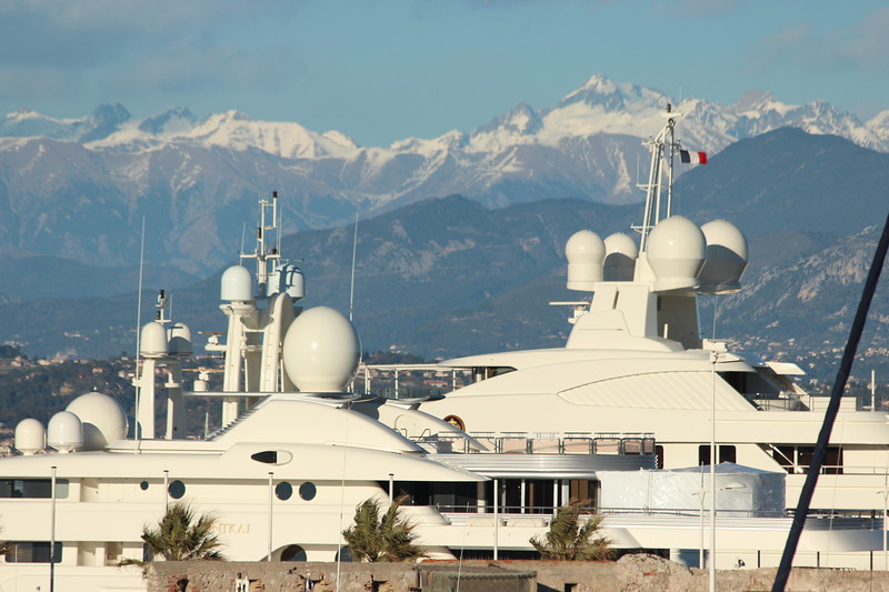 Super Yachts moored in Port Vauban, Antibes, France