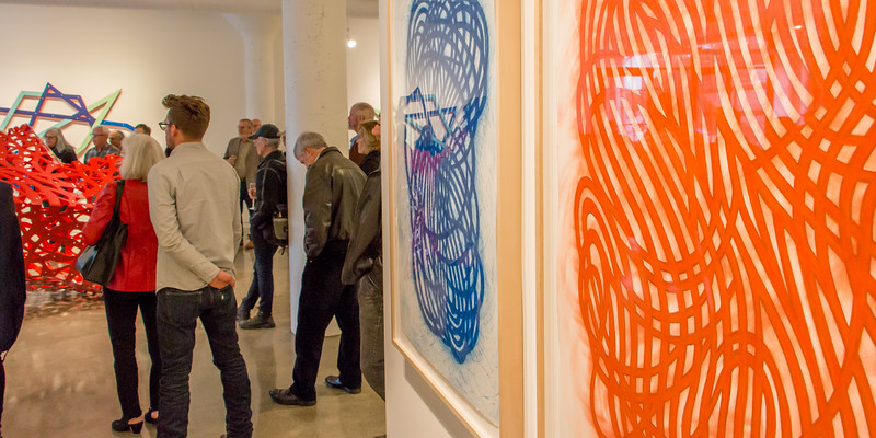 Red Orange Tangle (drawing), Ultra Blue (drawing) First Light, Drift (r to l)