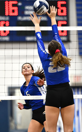 11/1/2019 Mike Orazzi | StaffrBristol Easterns Brooke Dorsio (5) at the net during Friday night's girls volleyball match with Lyman Memorial in Bristol. r