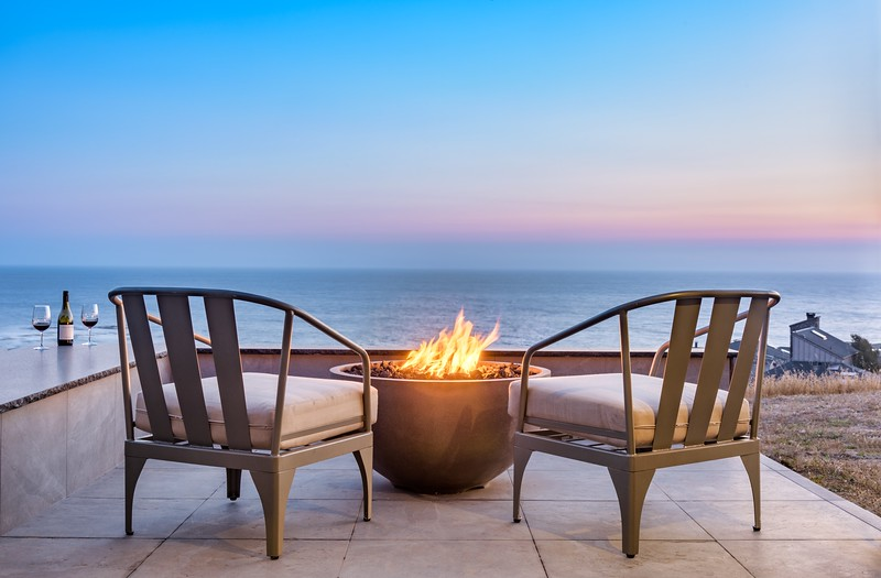 Back Deck & Fireplace at Sunset
