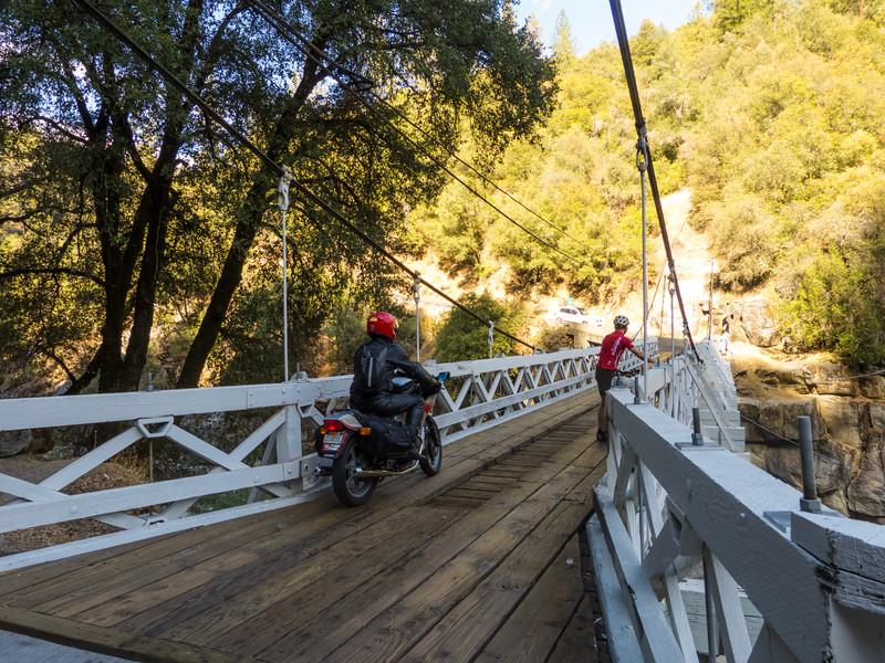 Mosquito Rd single lane wooden suspension bridge