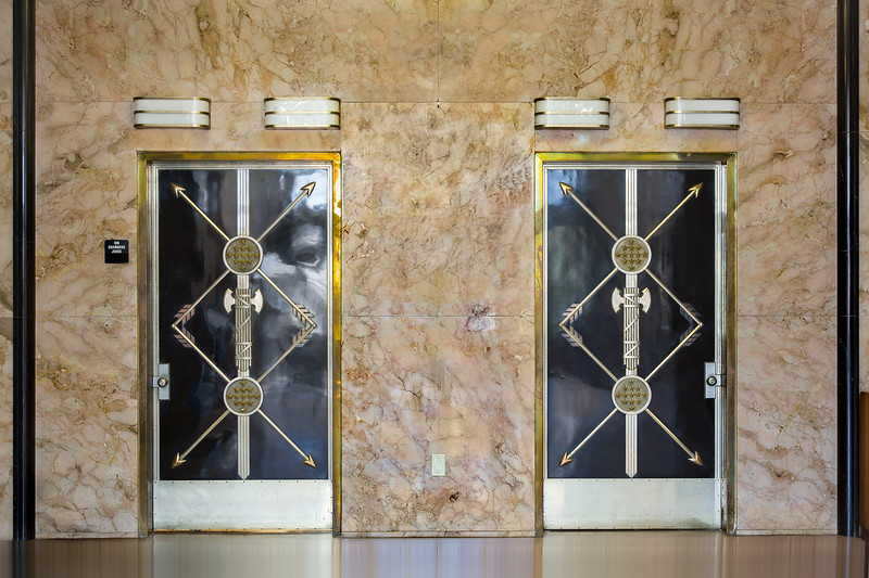Lobby doors in the former United States Courthouse (1935-2012) in Austin, Texas. 24-105mm lens.