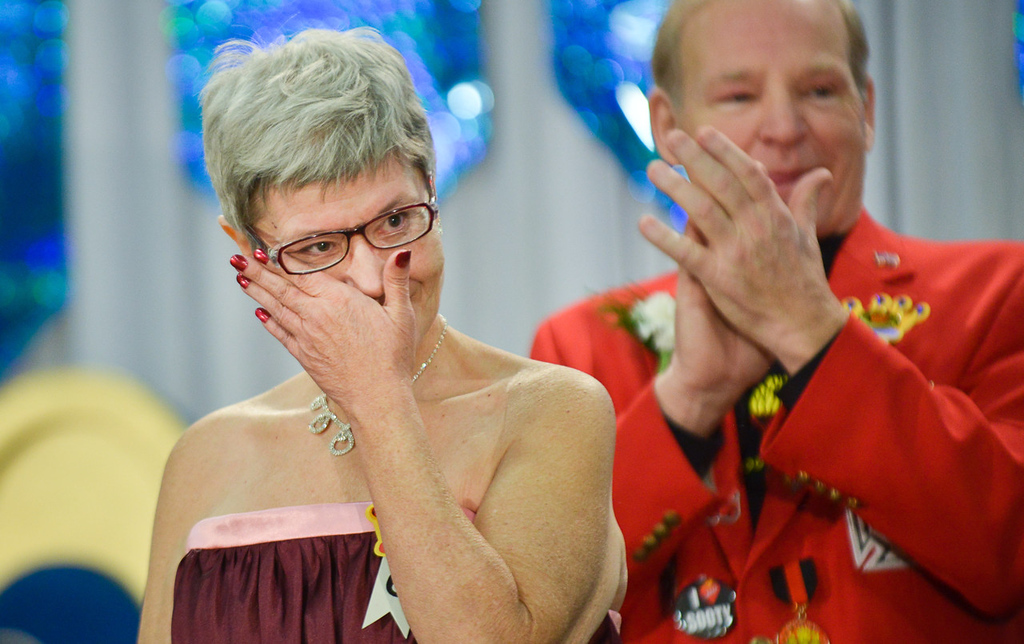 . Cindy Thrasher sheds a tear after being crowned the 2014 Princess of the Four Winds during the Senior Royalty Coronation ceremony. (Pioneer Press: Ben Garvin)